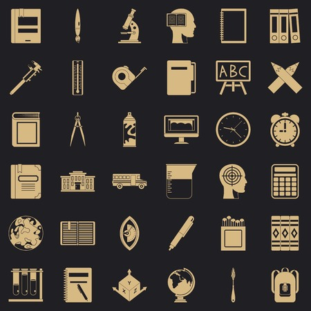 Learning icons set, simple style Illustration