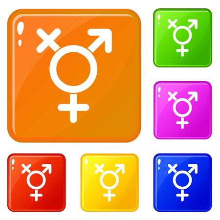 Transgender sign icons set vector color