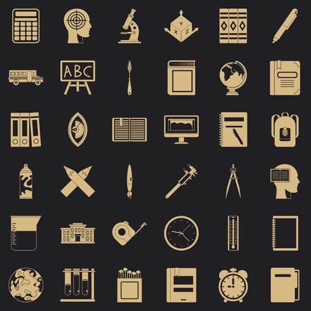 Pupil icons set, simple style Illustration