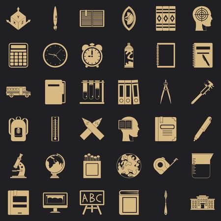 School icons set, simple style