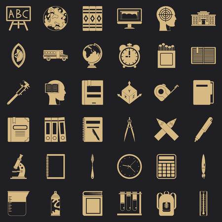 Lesson icons set, simple style