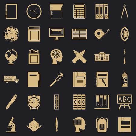 Desk icons set, simple style