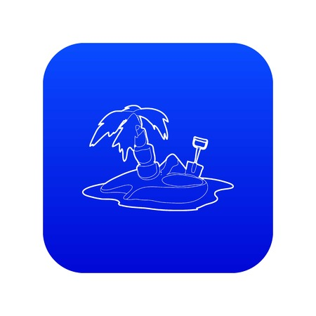 Pirate island icon blue vector isolated on white background