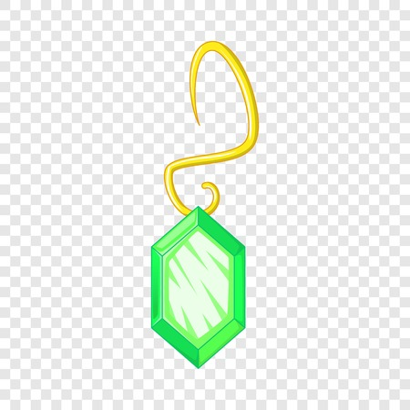 Green earring icon. Cartoon illustration of green earring vector icon for web design