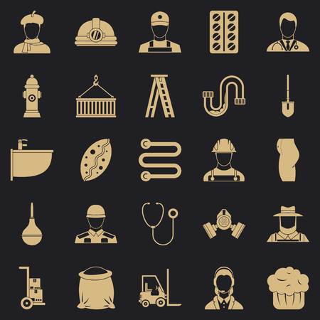 Different professions icons set. Simple set of 25 different professions vector icons for web for any design