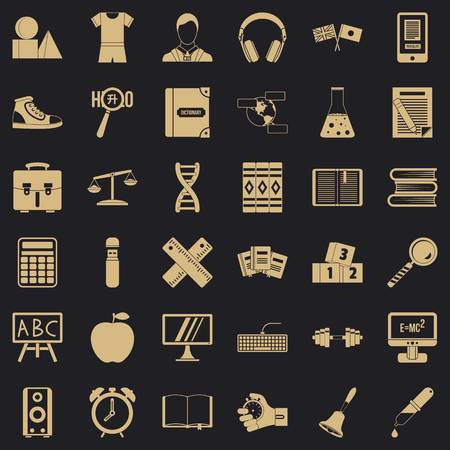 Dictionary icons set, simple style Illustration