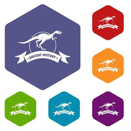 Jurassic raptor icons vector colorful hexahedron set collection isolated on white