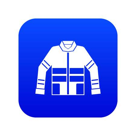 Firefighter jacket icon digital blue for any design isolated on white vector illustration