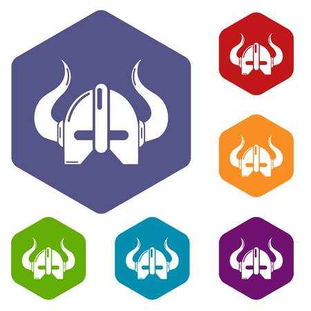 Viking helmet icons vector colorful hexahedron set collection isolated on white