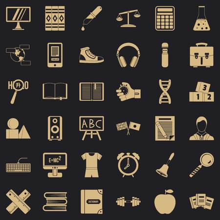 Blackboard icons set. Simple style of 36 blackboard vector icons for web for any design