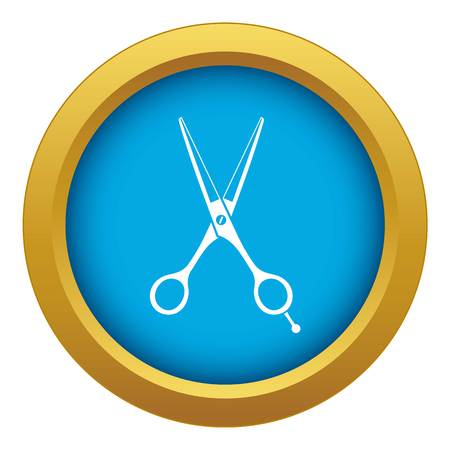 Scissors icon blue vector isolated on white background for any design