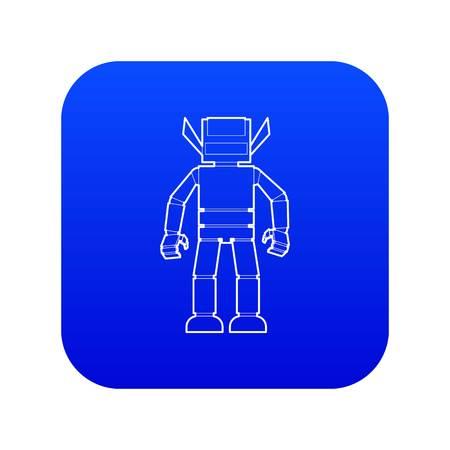 Humanoid robot icon blue vector isolated on white background Ilustração