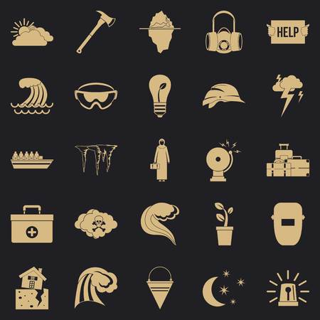 Unhappiness icons set, simple style Иллюстрация