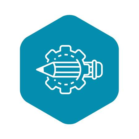 Cog wheel pencil icon, outline style