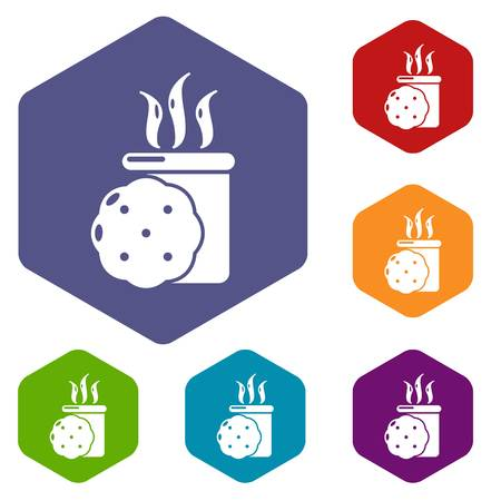 Tea and biscuit icons vector hexahedron