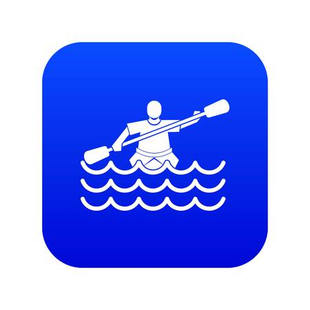 Male athlete in a canoe icon digital blue for any design isolated on white vector illustration