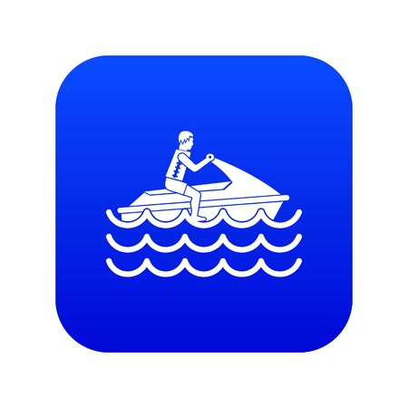 Man on jet ski rides icon digital blue for any design isolated on white vector illustration
