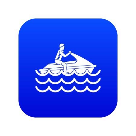 Man on jet ski rides icon digital blue for any design isolated on white vector illustration