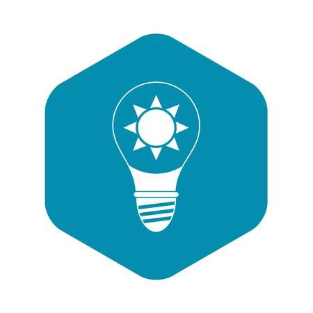 Light bulb with sun inside icon in simple style isolated vector illustration