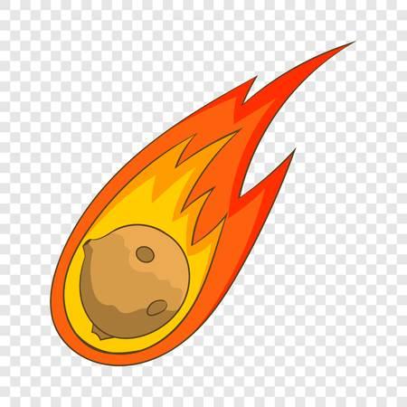 Flame meteorite icon, cartoon style