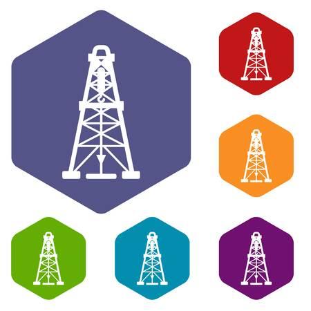 Oil derrick icons vector hexahedron