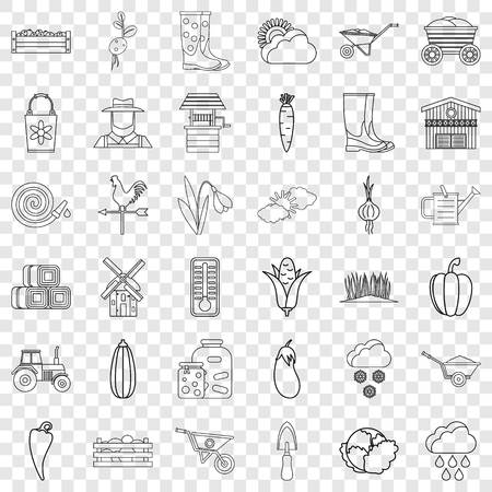 September icons set, outline style Ilustrace
