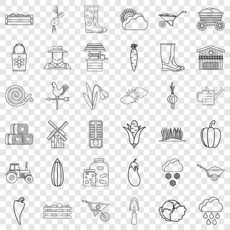 September icons set, outline style Illustration