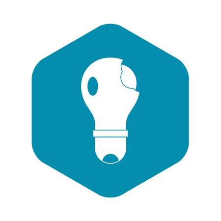Broken lightbulb icon in simple style isolated vector illustration