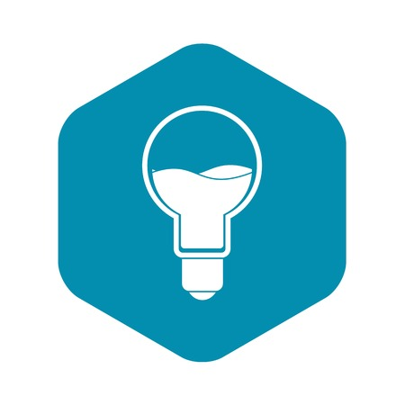 Light bulb with blue water inside icon in simple style isolated vector illustration Иллюстрация