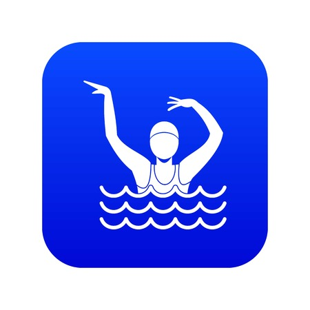 Swimmer in a swimming pool icon digital blue for any design isolated on white vector illustration