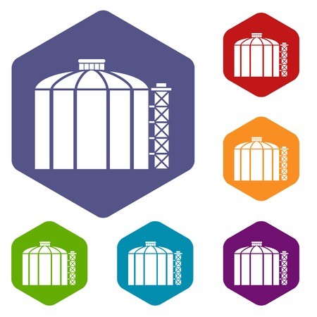 Oil storage tank icons vector hexahedron Illustration
