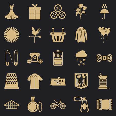 Dress code icons set, simple style