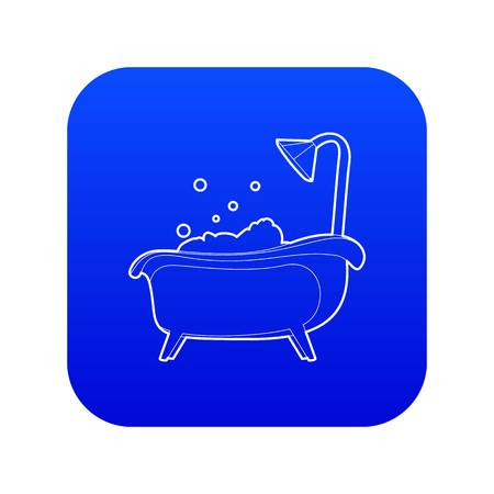 Bath icon blue vector isolated on white background