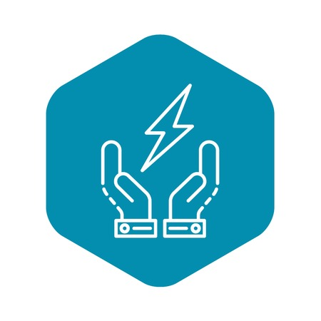 Hand keep energy icon. Outline hand keep energy vector icon for web design isolated on white background 向量圖像
