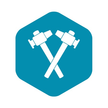 Crossed blacksmith hammer icon in simple style isolated vector illustration