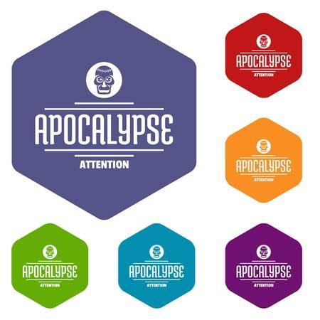 Zombie apocalypse icons vector hexahedron