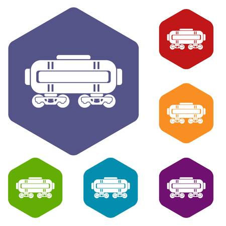 Train oil icons vector hexahedron Illustration