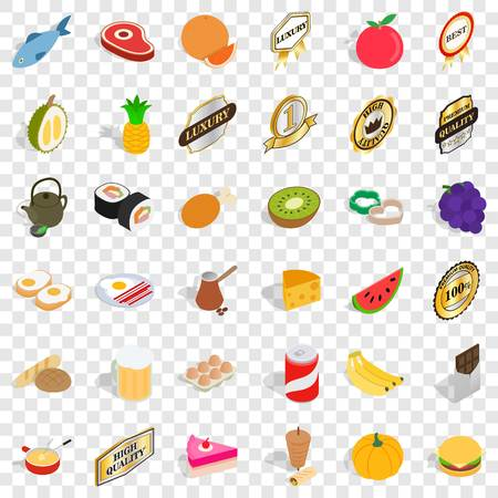 Eating icons set, isometric style