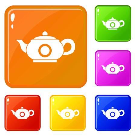 Teapot icons set vector color