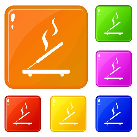 Incense sticks icons set collection vector 6 color isolated on white background