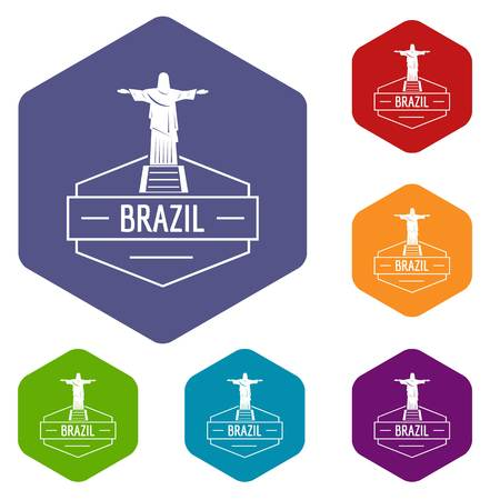 Brazil statue icons vector hexahedron Illustration