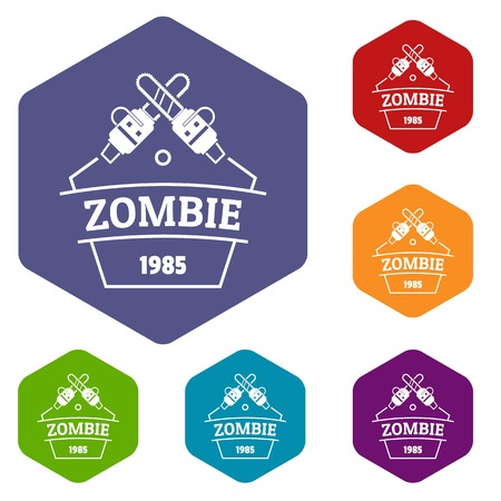 Zombie attack icons vector hexahedron