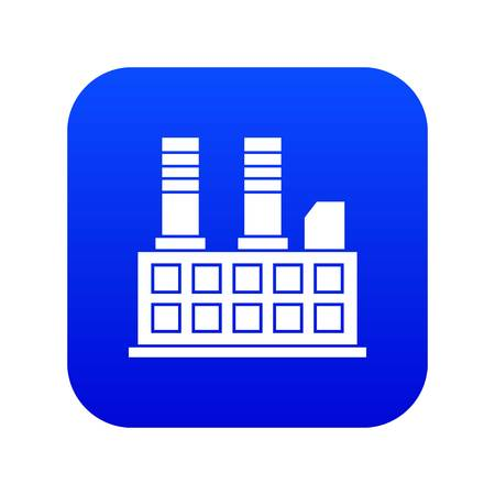 Factory building icon digital blue for any design isolated on white vector illustration