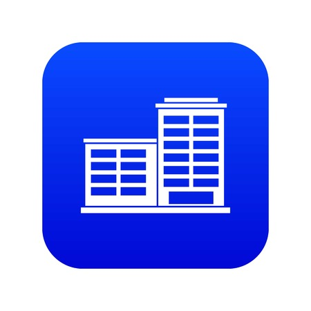 Manufacturing factory building icon digital blue