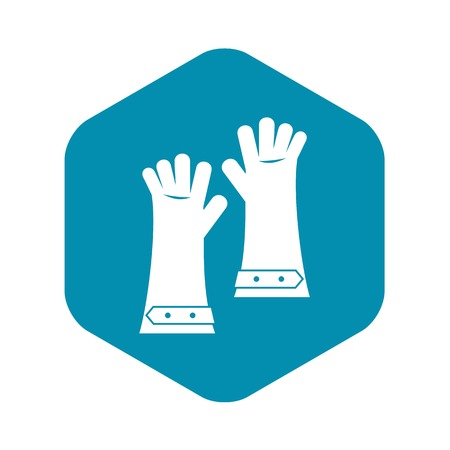 Heat resistant gloves for welding icon in simple style isolated vector illustration