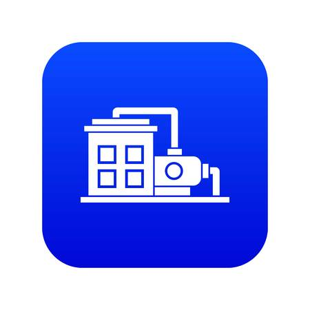 Factory building icon digital blue Illustration