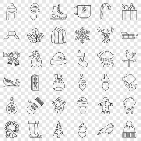 Snowflake icons set, outline style
