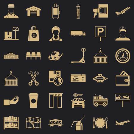 Logistic icons set. Simple style of 36 logistic vector icons for web for any design
