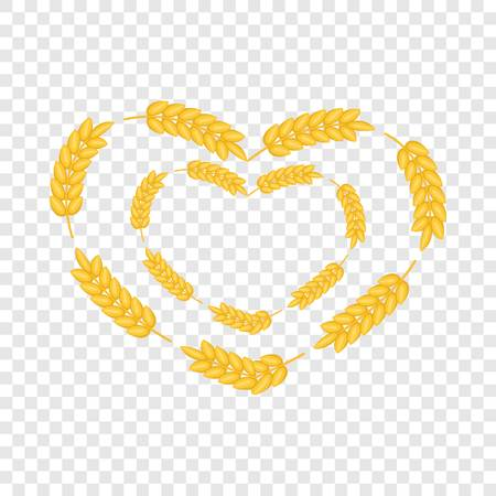 Ears wreath in heart shape icon. Cartoon illustration of ears wreath in heart shape vector icon for web design Ilustração