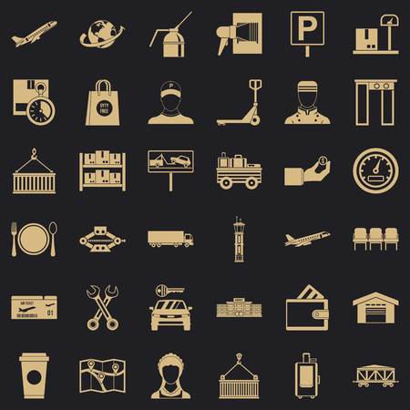 Storage icons set, simple style Illustration